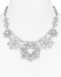 Kate Spade New York Faceted Medallion Statement Necklace 17 Silver