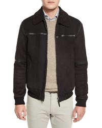 Ermenegildo Zegna Fur Collar Suede Bomber Jacket Chocolate