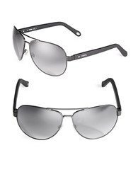 Fossil 63Mm Aviator Sunglasses Matte Black