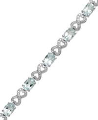 Macy's Aquamarine 5 3 4 Ct. T.W. And Diamond Accent Infinity Bracelet In Sterling Silver