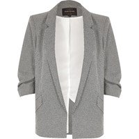 River Island Womens Black Dogtooth Ruched Sleeve Blazer