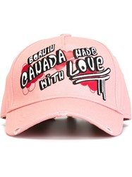 Dsquared2 Born In Canada Embroidered Baseball Cap Pink And Purple