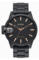 Nixon 'The Chronicle' Bracelet Watch 44Mm Black Rose Gold