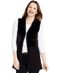 Style And Co. Faux Fur Vest Deep Black