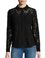 Elie Tahari Beaded Collar Lace Blouse Black