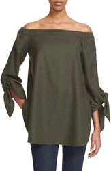 Tibi Women's Off The Shoulder Gabardine Tunic Loden Green