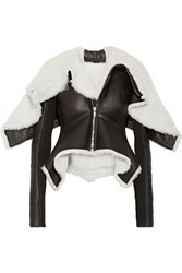 Rick Owens Metro Wool Trimmed Shearling And Leather Biker Jacket Black