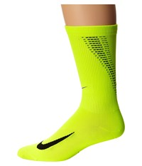 Nike Elite Run Lightweight 2.0 Crew Volt Black Crew Cut Socks Shoes Yellow
