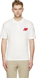 Ami Alexandre Mattiussi White And Red Heart Badge Polo Shirt