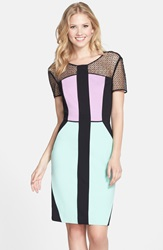 Nue By Shani Colorblock Ponte Sheath Dress Black Combo