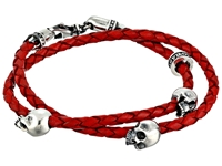 King Baby Studio Thin Braided Red Leather W Hamlet Skulls Double Wrap Bracelet
