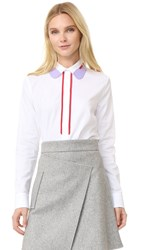 Carven Long Sleeve Blouse White Red