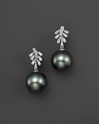 Bloomingdale's Cultured Tahitian Pearl Drop Earrings With Baguettes And Diamonds In 14K White Gold 11Mm Black