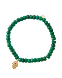 Sydney Evan Emerald Rondelle Beaded Bracelet With 14K Gold Hamsa Charm Made To Order Green