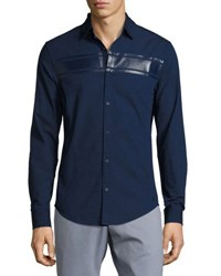 Original Penguin Long Sleeve Stripe Detail Woven Shirt Blue