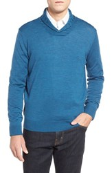 Men's Thomas Dean Shawl Collar Sweater Blue