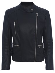 French Connection Decade Faux Leather Long Sleeve Biker Jacket
