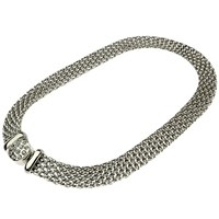 Adele Marie Flat Chain Mesh Necklace Silver