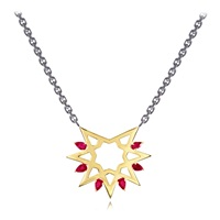 Ralph Masri Gold Ruby Star Arabesque Necklace Gold Red Black