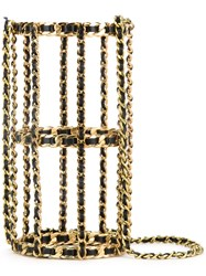 Chanel Vintage Chain Cage Shoulder Bag Metallic