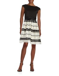 Taylor Striped Fit And Flare Dress Black Cream