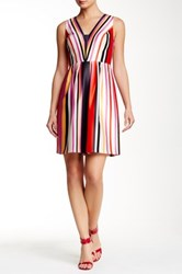 Phoebe Couture V Neck Sleeveless A Line Pleated Dress Multi