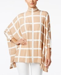 Alfani Turtleneck Poncho Top Only At Macy's Paint Plaid Camel