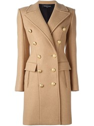 Balmain Double Breasted Coat Nude And Neutrals