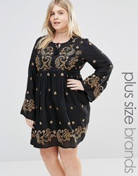 Alice And You Long Sleeve Skater Dress With Paisley Embroidery Black