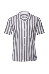French Connection Mithun Stripe Short Sleeved Shirt Blue