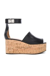 Givenchy Shark Cork Platform Leather Sandals In Black