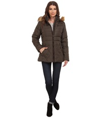 Larry Levine Short Hooded Down With Faux Leather Trim Loden Women's Coat Green