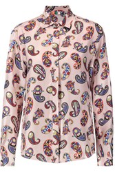 Msgm Printed Silk Twill Shirt Blush