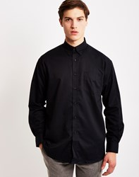 The Idle Man Long Sleeve Oxford Shirt Black