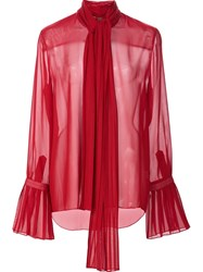 Adam By Adam Lippes Ruffle Sleeve Semi Sheer Shirt Red