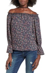 Wayf Women's Off The Shoulder Blouse Navy Floral