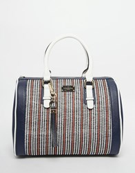 Paul's Boutique Pauls Boutique Molly Bowler Bag In Nautical Stripe Raffia Navy