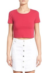 Junior Women's Bp. Stretch Cotton Crop Tee Red Barberry