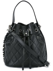 Moschino Quilted Logo Plaque Bucket Bag Black