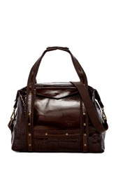 Persaman New York Arthur Leather Croc Embossed Weekend Tote Brown