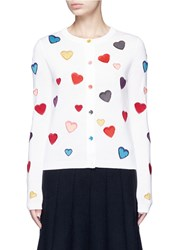 Alice Olivia Rainbow Button Hearts Embroidery Wool Cardigan Multi Colour