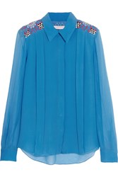 Matthew Williamson Palmeraie Embellished Silk Chiffon Shirt Blue