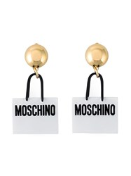 Moschino Shopping Bag Clip On Earrings White