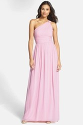 Donna Morgan 'Rachel' Ruched One Shoulder Chiffon Gown Plus Size Pink