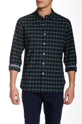 Grayers Compact Chambray Weave Checkered Long Sleeve Regular Fit Shirt Green