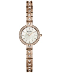 Bulova Women's Crystal Accent Rose Gold Tone Stainless Steel Bracelet Watch 21Mm 98L215