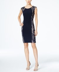 R And M Richards Sequined Lace Panel Dress Navy