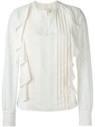 See By Chloe Embroidered Panel Ruffled Blouse White