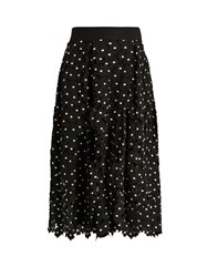 Self Portrait Daisy Guipure Lace Midi Skirt Black White