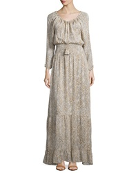 Calypso St. Barth Elvaria Long Sleeve Maxi Dress Feather